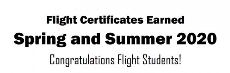 Congratulations! Spring and Summer Flight Certificates Earned