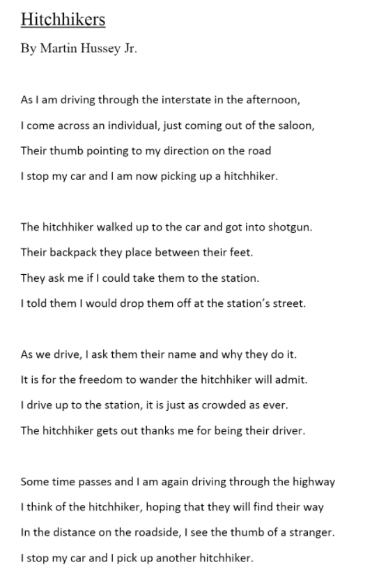"Student Poetry: ""Hitchhikers"""