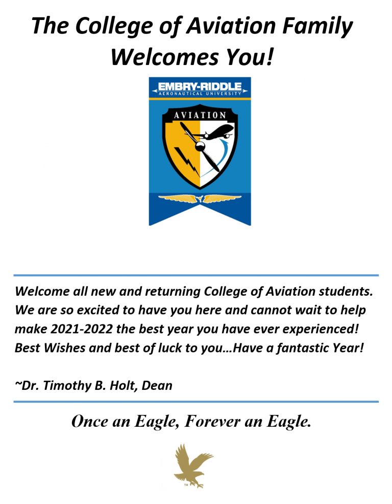 The College of Aviation Family Welcomes You!